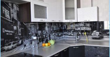 Tablier en verre pour la cuisine avec des photos