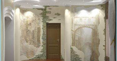 Design et décoration du hall d'entrée avec pierre décorative